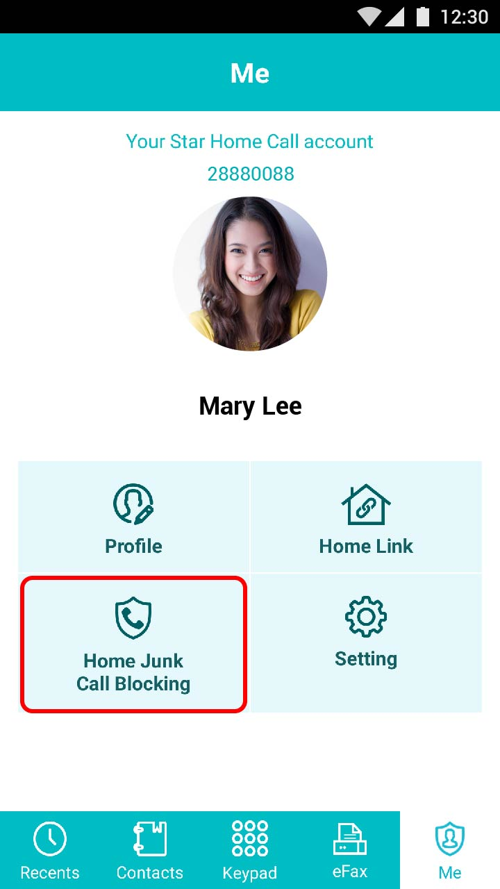 "Tap ""Home Junk Call Blocking"""