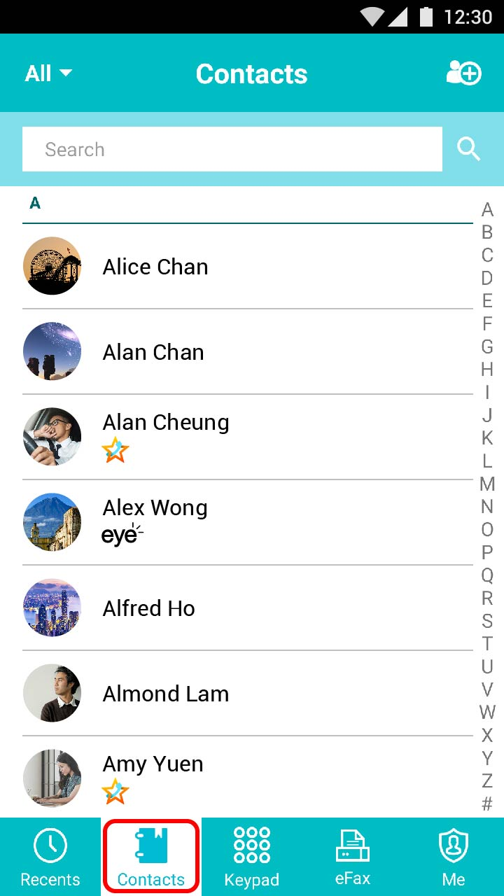"Open ""Contacts"" and select a contact displaying a ""Star Home Call"" or ""eye"" label."