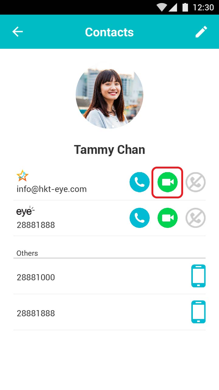 Tap the video call button to call.